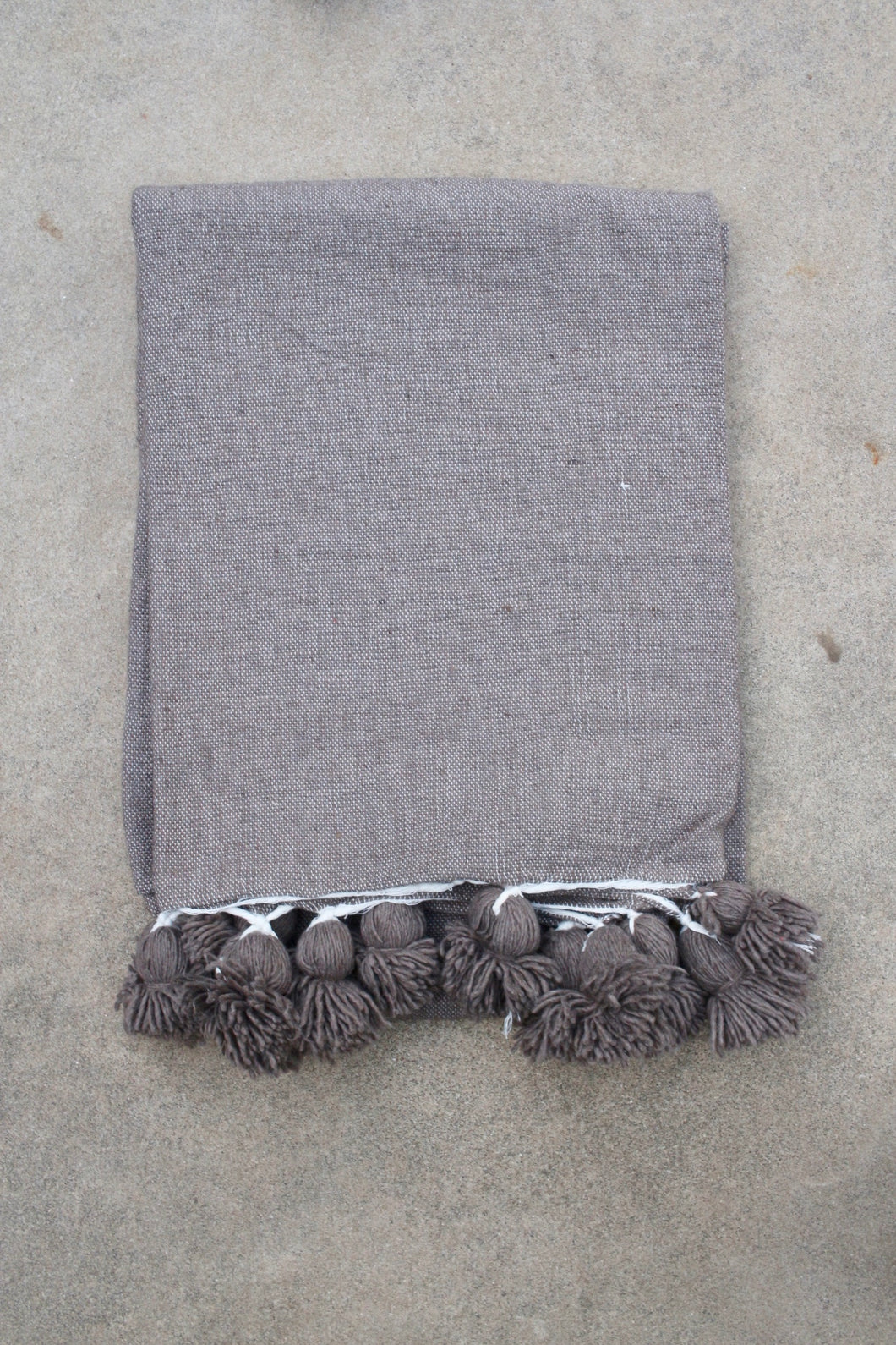 Pom Pom Blanket - Solid Warm Charcoal