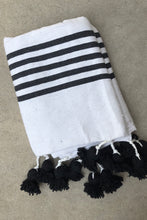 Pom Pom Blanket - White and Black with Black Poms