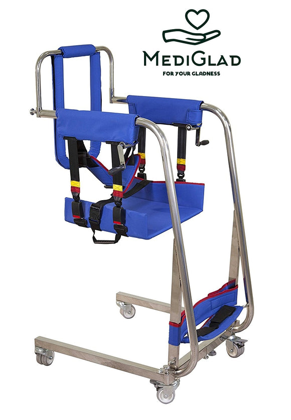 MEDIGLAD - Multifunctional Manual Patient Disabled Transfer Lift Chair - Patient Transfer to Bathroom, Wheelchair, Bed, Car - Weight Cap 300 lbs