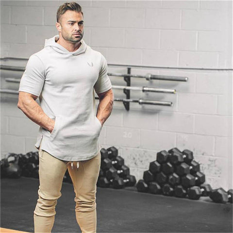 Short Sleeve Fitness Workout Bodybuilding Hoodie