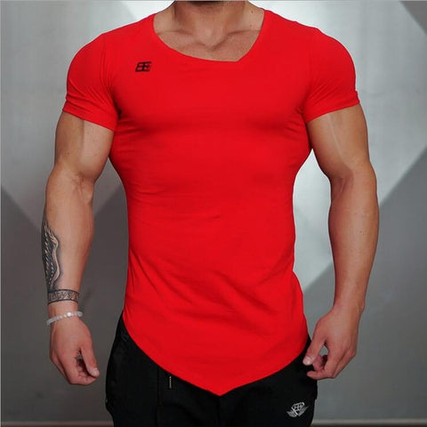 Red Fitted Gym Shirt