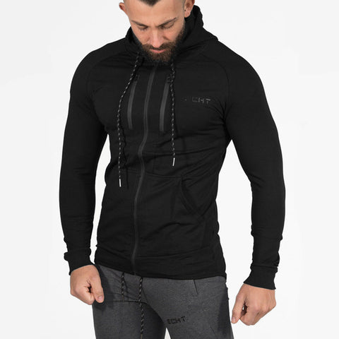 Zipper Hoodies Fitness Bodybuilding Hooded Jacket