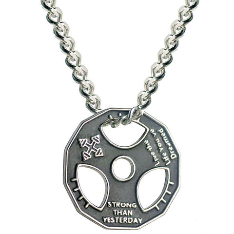 Weight Plate Pendant Necklace Stainless Steel Chain
