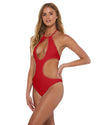 Bomba Bambola LILY RED STUDDED CUT OUT ONE PIECE