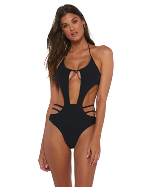Bomba Bambola IVY BLACK GOLD CHAIN CUT OUT ONE PIECE
