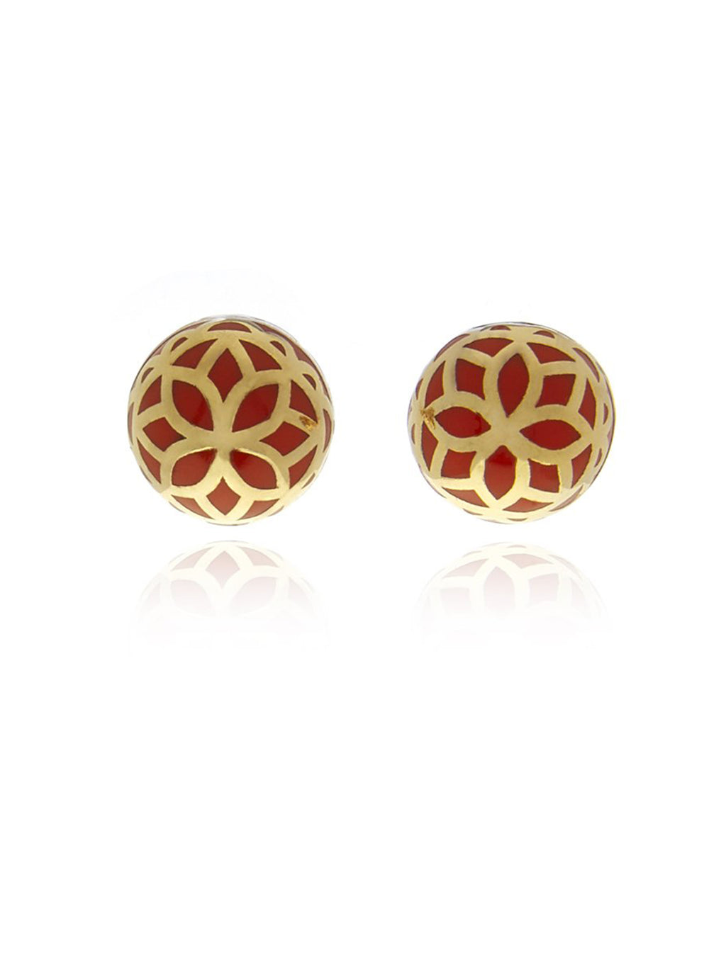 Georgina Jewelry Signature Flower Gold Orange Ball Earrings