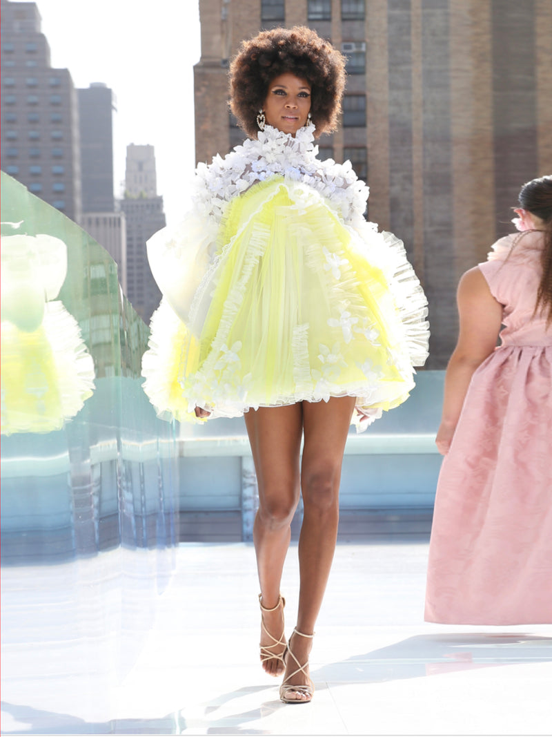 Elmadawy White & yellow Organza and tulle short dress