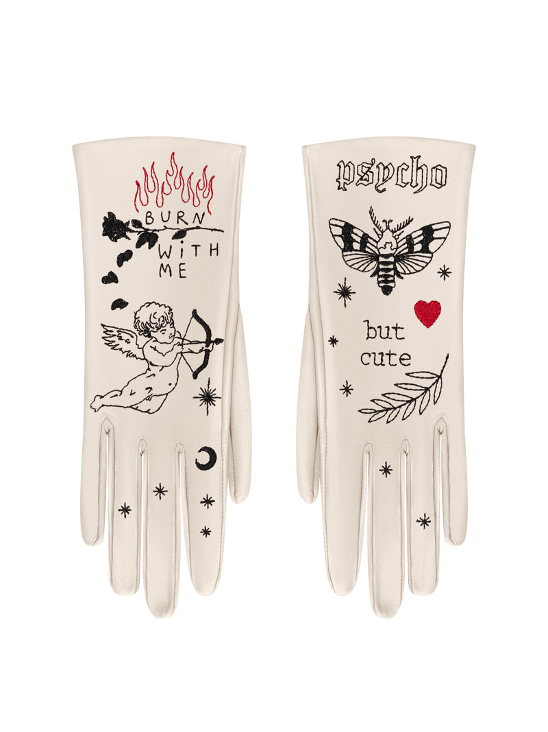 Glove.me Leather gloves with embroidery