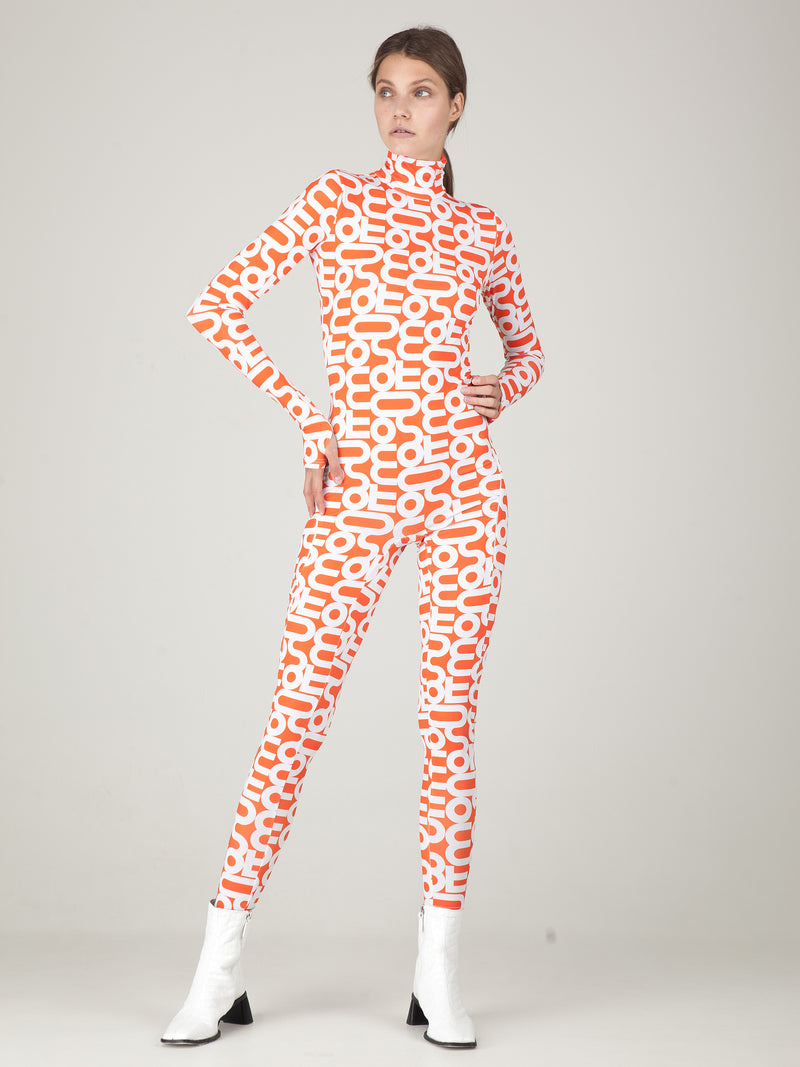 Monoskin Orange & White Logo Print Monosuit