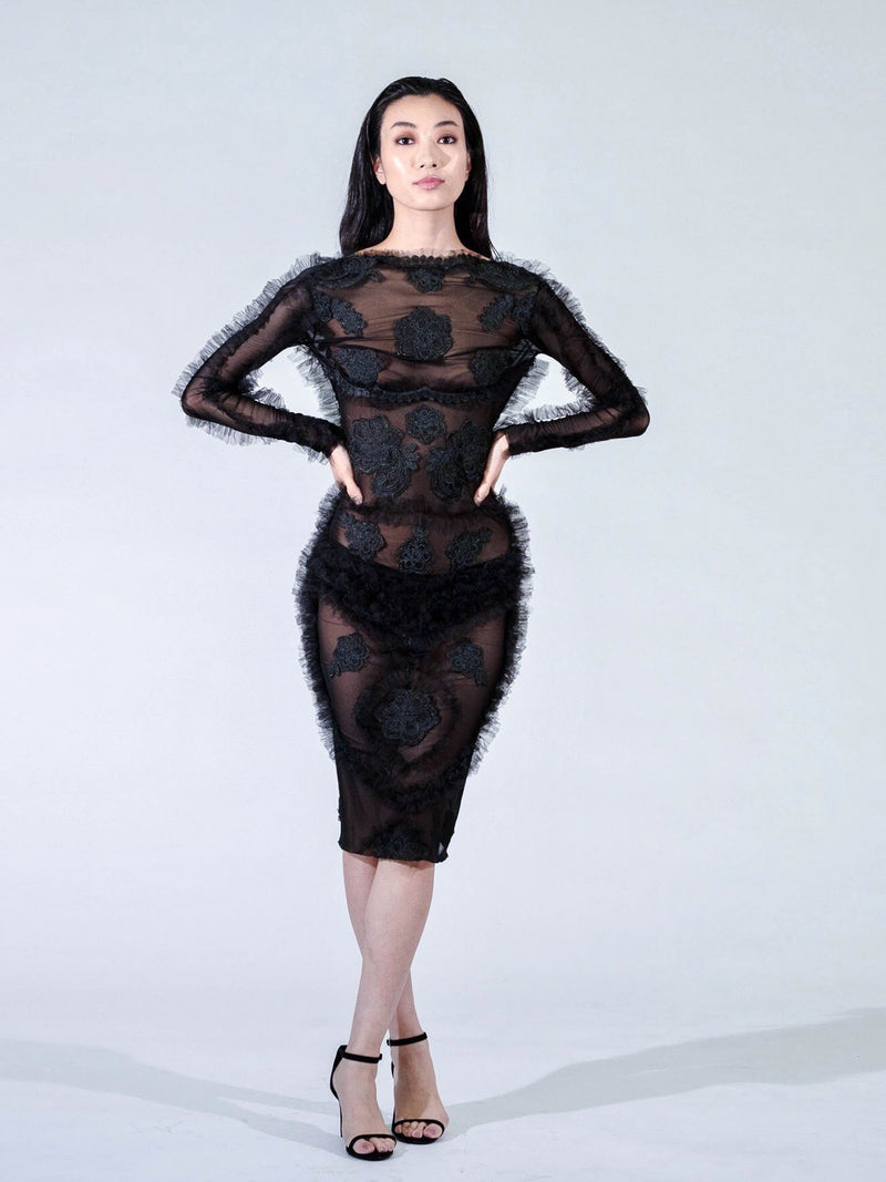 Elmadawy Dress Black Long Sleeve Dress