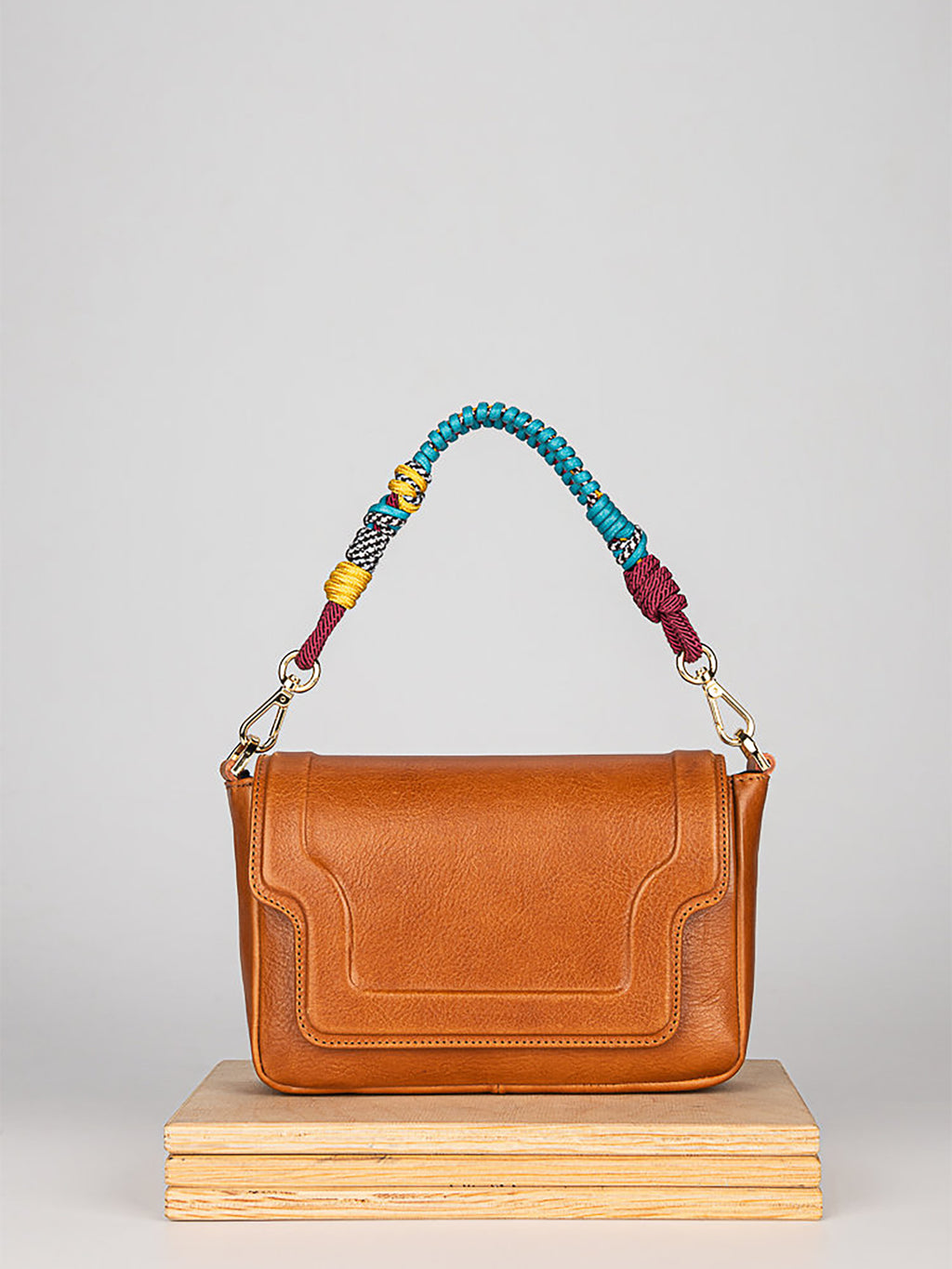 KULIK Mini Modern camel leather bag with twisted strap