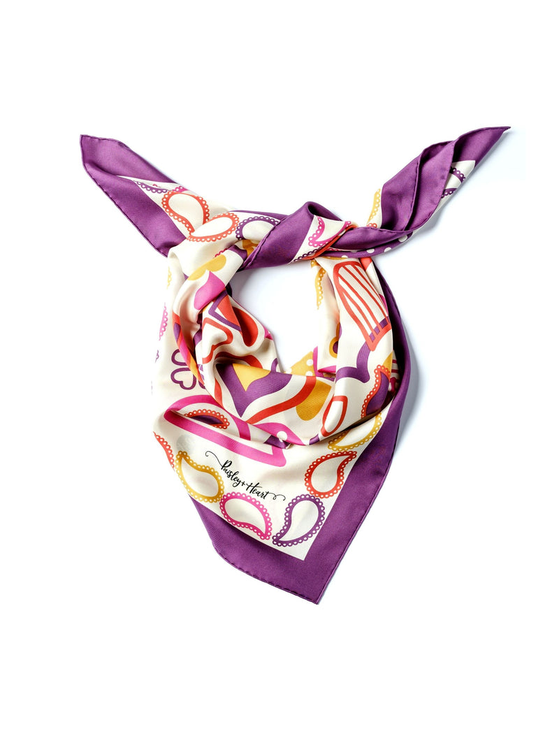 Paisley & Heart Scarf P&H Classic Purple