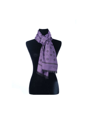Paisley & Heart Scarf P&H Oblong in Purple