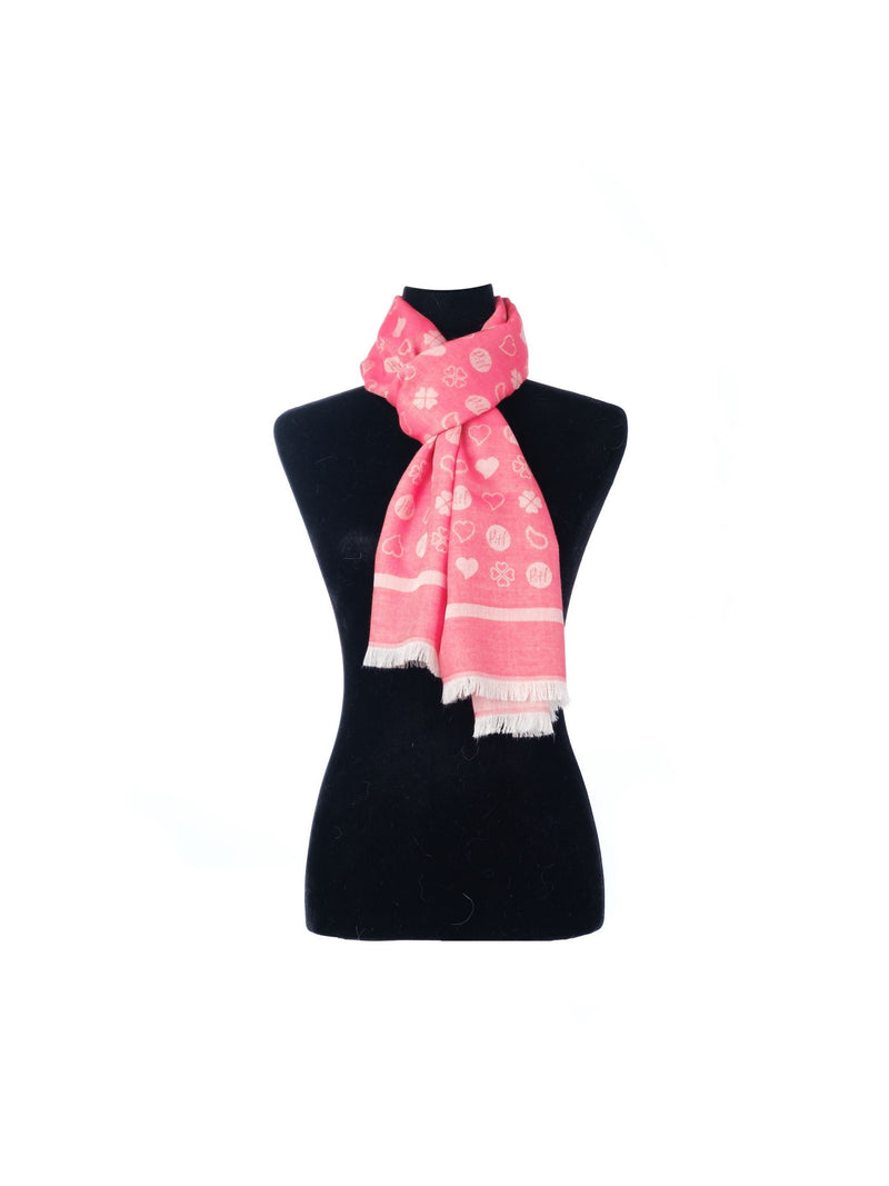 Paisley & Heart Scarf P&H Oblong In Red
