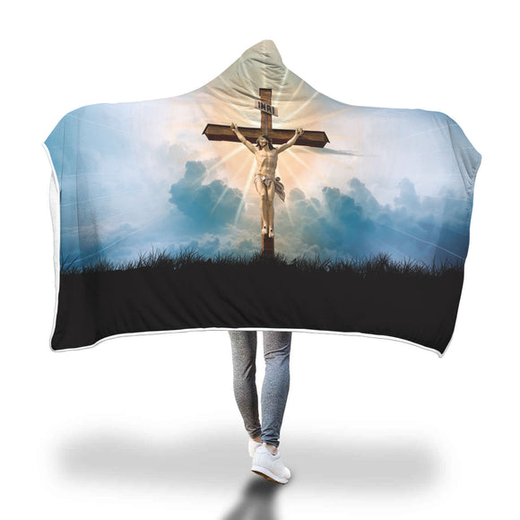 Christian Faith Inspired Hooded Blanket - Jesus on the Cross Design