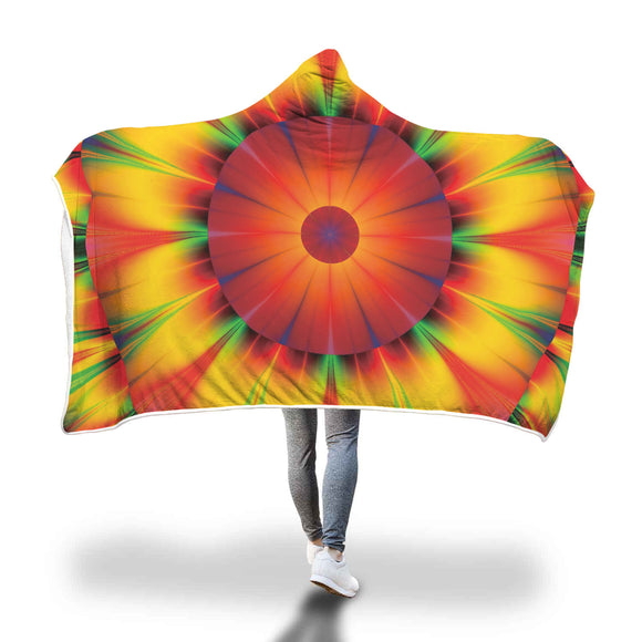 Abstract Fractal Sunburst - Hooded Blanket