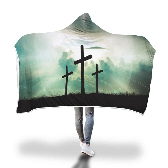Christian Faith Inspired 3 Crosses - Hooded Blanket