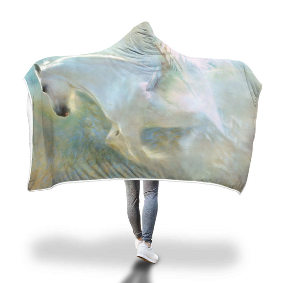 Pegasus Winged Horse Hooded Blanket