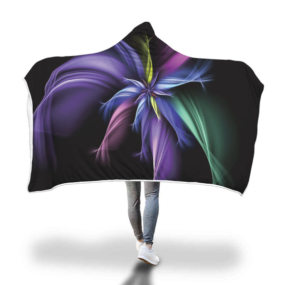 Abstract Fractal Purple Passion  - Hooded Blanket