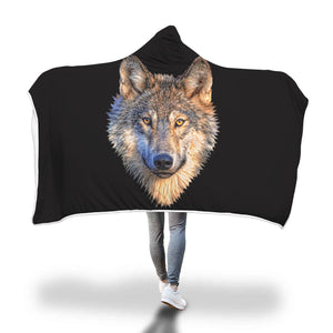 Wolf Print Hooded Blanket