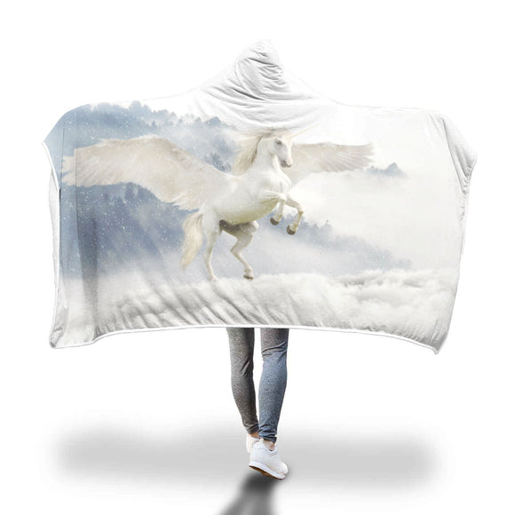 Unicorn Winged Horse  Hooded Blanket