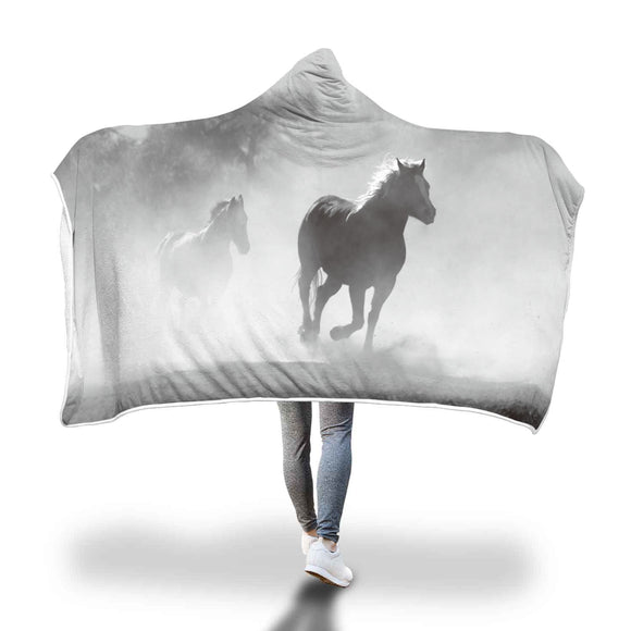 Horse Lover's Wild Horses Hooded Blanket