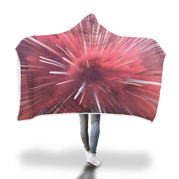 Abstract Fractal Pink Crystal Hooded Blanket