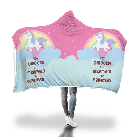 Unicorn Mermaid Princess Hooded Blanket