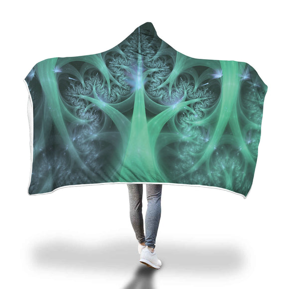 Marijuana Cannabis Weed Fractal Hooded Blanket