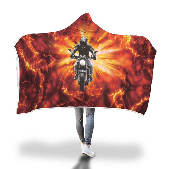Motorcycle Biker Gift Hooded Blanket