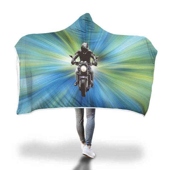 Motorcycle Biker Gift Hooded Blanket Blue Green