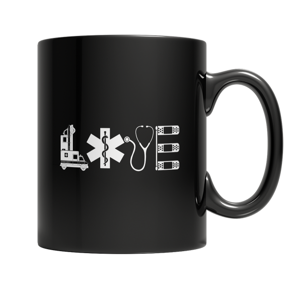 EMT Love 11 oz Black Ceramic Mug