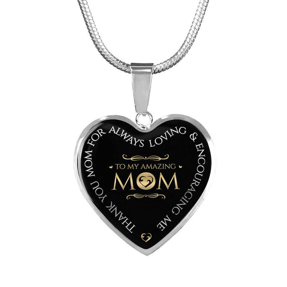 Mom Gift - To My Amazing Mom - Personalized Heart Pendant Necklace and Bangle Bracelet
