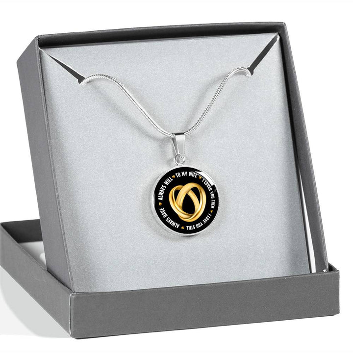Wife Gift - To My Wife - Gold or Silver Finish Pendant Necklace and Bangle Bracelet