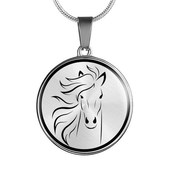 HORSE Pendant Necklace in Gold or Silver Finish