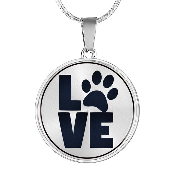 Dog Pet Parent Gift - LOVE Paw Print Dog Lover's Pendant Necklace in Gold or Silver Finish