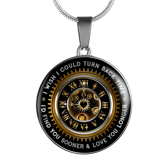 Love Gift - TURN BACK TIME Personalized Gold or Silver Finish Pendant Necklace