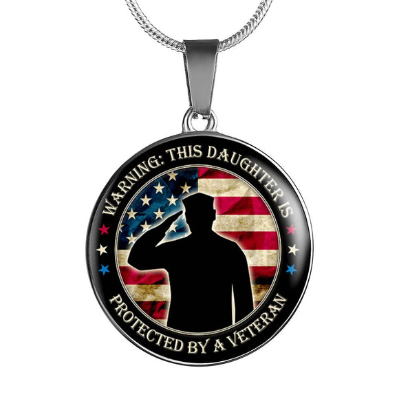Daughter of Veteran Gift Pendant Necklace in Gold or Silver Finish