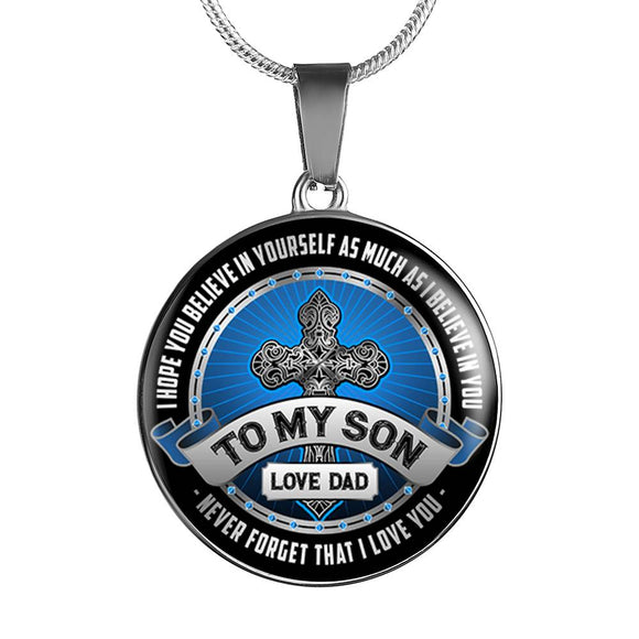 Son Gift - To My Son - Love Dad Pendant in Gold or Silver Finish