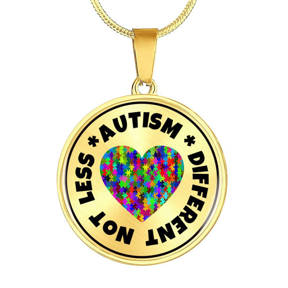 Autism Pendant Necklace in Gold or Silver Finish