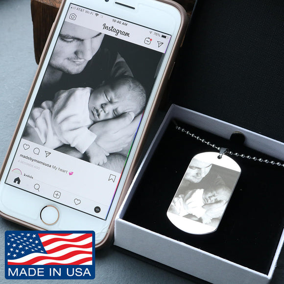 Photo Etched Jewelry Personalized Dog Tag - Ultimate Gift for Guys - Silver or 18k Gold Finish