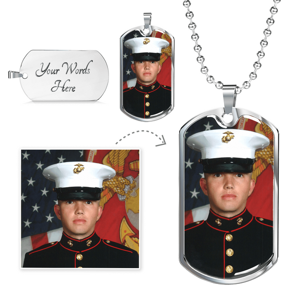Personalized Photo Jewelry Gold or Silver Finish Dog Tag Military Style Necklace