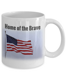 "Patriotic American Flag Gift Ceramic Mug ""Home of the Brave"""
