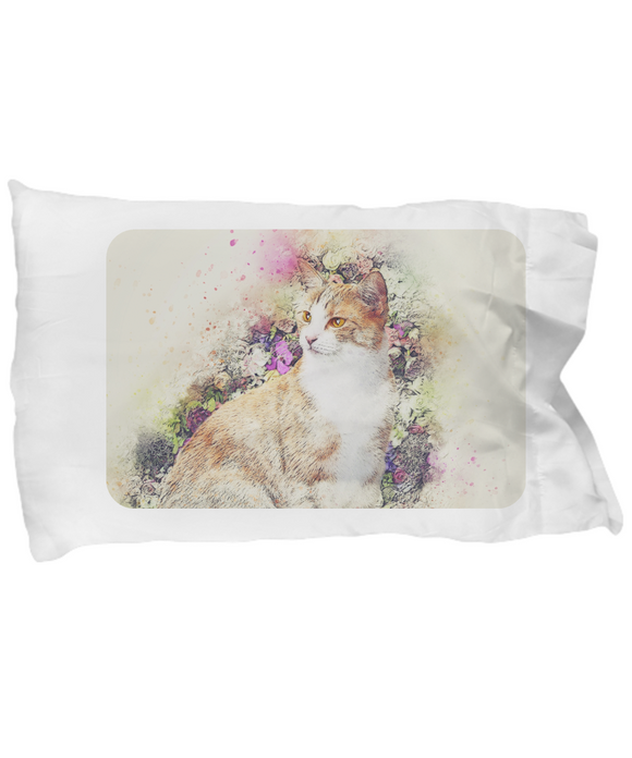 Vintage Victorian-Style Cat Pastel Painting Pillow Case