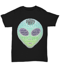 Funny Gift UFO Alien Green Head Word Art T-shirt