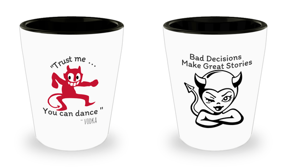 Funny Shot Glasses - Set of 2 Ceramic Shot Glasses - Excellent Gift!