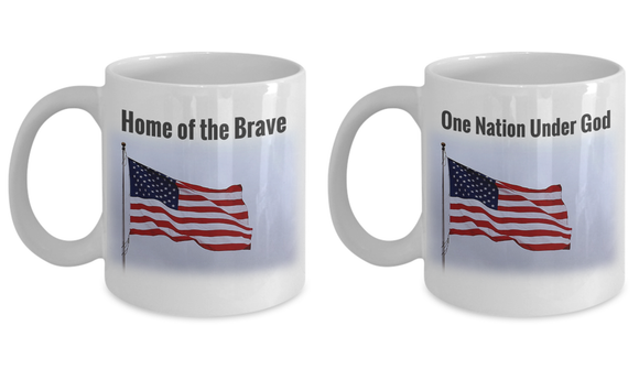 Patriotic American Flag Ceramic Mugs Set of 2