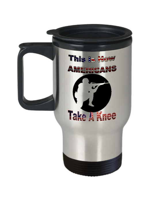 Patriotic American Soldier or Veteran Statement Travel Mug