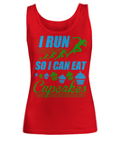 "Funny Fitness Workout Gym Women's Tank Top ""I Run So I Can Eat Cupcakes"""