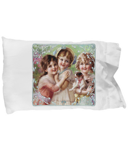 Vintage Victorian Little Girls with Puppy Designer Pillow Case